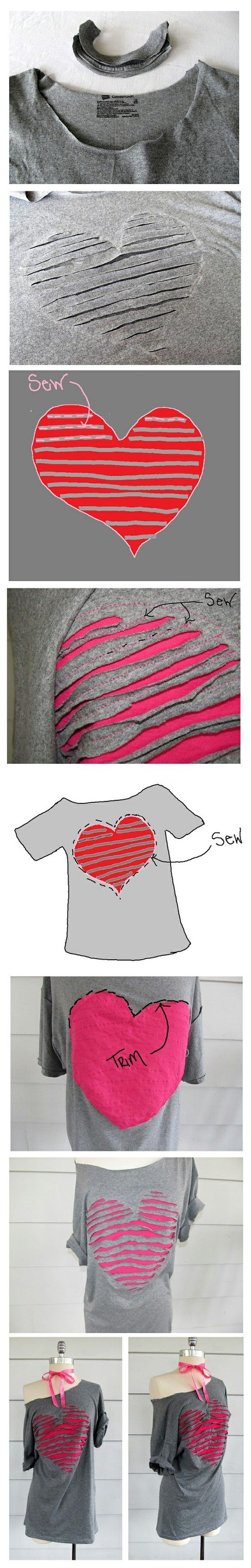 Very cute conversion of a plain ole grey t-shirt to a really cool Valentine shirt.