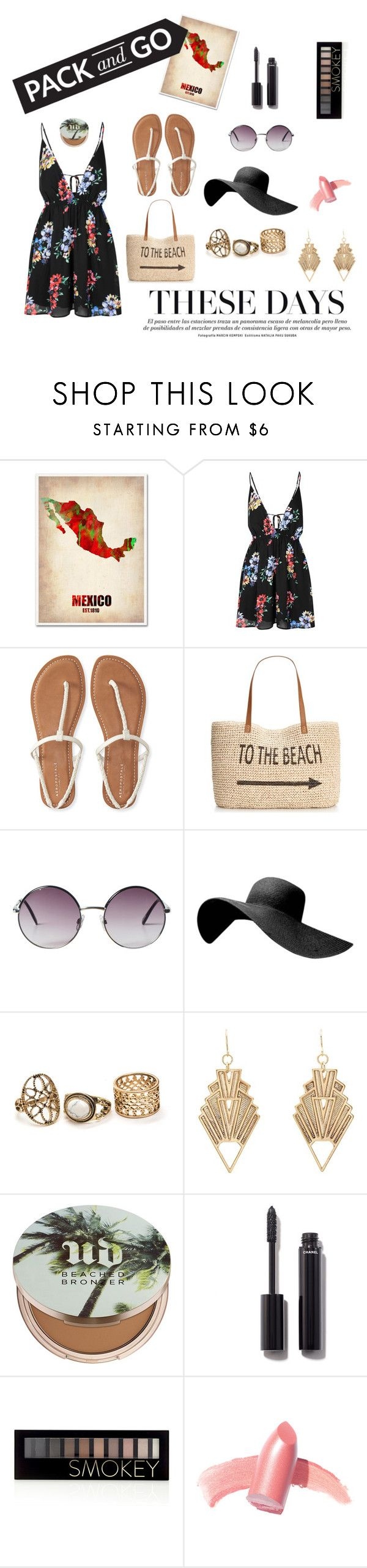 """""""Traveling to Mexico City"""" by janisan0310 ❤ liked on Polyvore featuring Trademark Fine Art, Glamorous, Aéropostale, Style & Co., Monki, Charlotte Russe, Urban Decay, Chanel, Forever 21 and Elizabeth Arden"""