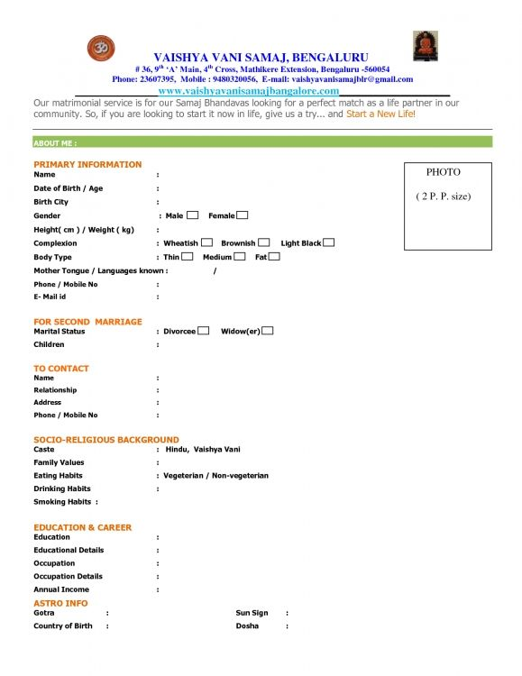Biodata Formet] Biodata Format For Job Application Download