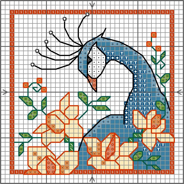 Peacock cross stitch card chart