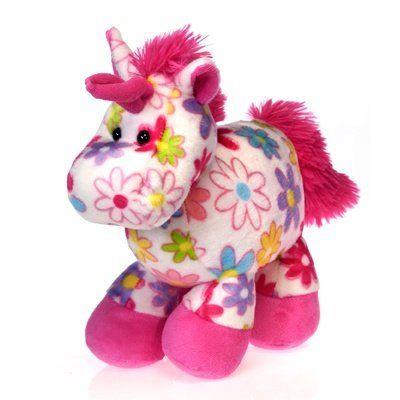 The Fiesta Flora Print 10″ Stuffed Unicorn is an adorable stuffed unicorn featuring a pattern of flowers and daisies.  http://unicornstuffedanimals.com/fiesta-flora-print-stuffed-unicorn/