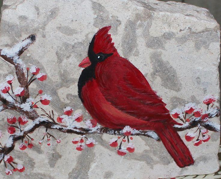 Cardinal on stone. Acrylic