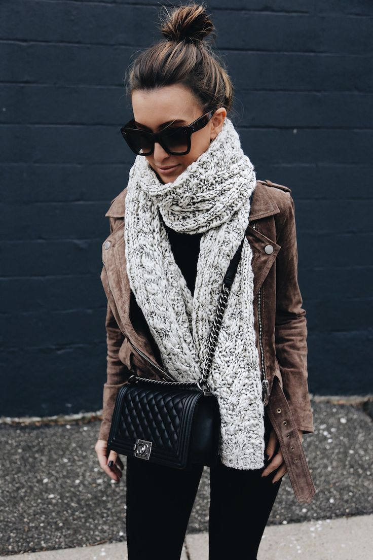 suede moto jacket black skinny jeans chanel boy bag winter fashion