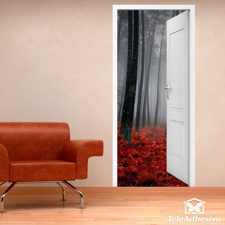 Vinilo decorativo puerta abierta de un bosque en otoño