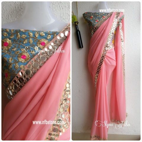 Pastel Pink Georgette saree with Mirror work border. Blouse as displayed…