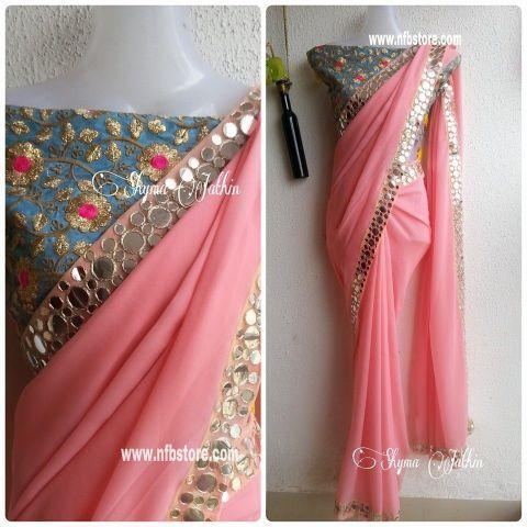Pastel Pink Georgette saree with Mirror work border. Blouse as displayed…
