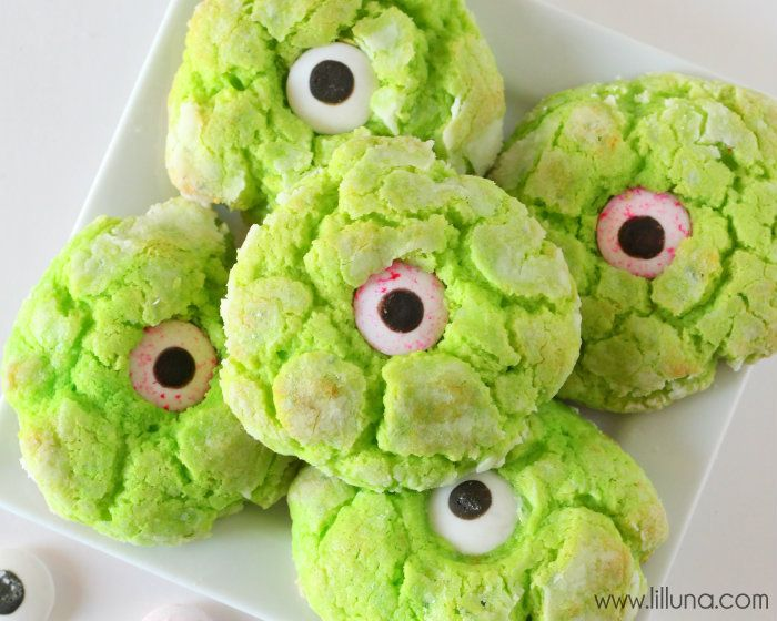 Gooey Monster Eye Cookies  INGREDIENTS -1 Yellow Cake Mix Box -1/2 cup butter softened -1/2 tsp. vanilla -1  8oz. bar cream cheese softened 1 egg green food coloring powdered sugar candy eyeballs