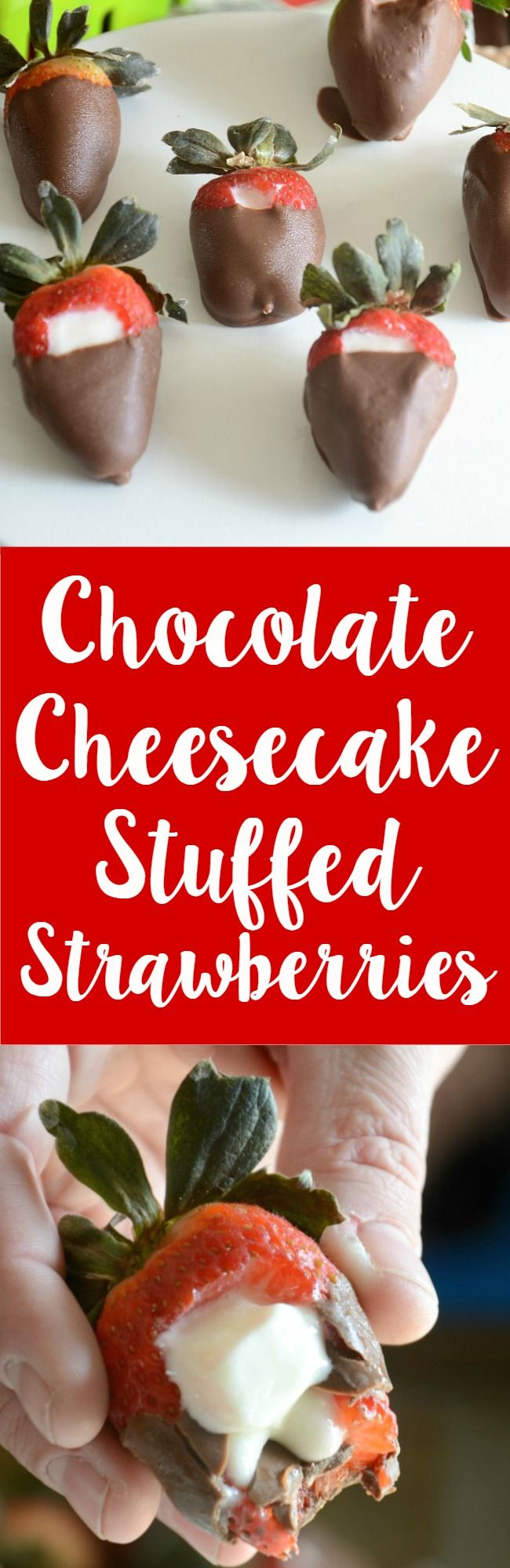 Easy and so yummy - chocolate covered cheesecake stuffed strawberries! Make these for your sweetie (or yourself!) today!