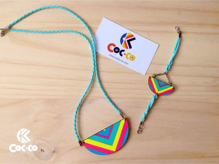 Cocco Color - Nuestra Línea Geometriko. Las líneas geométricas... #trendy #cute #fashion #necklace #accesorios #moda #accessories #color #madera #wood. #cocco #color #coccocolor