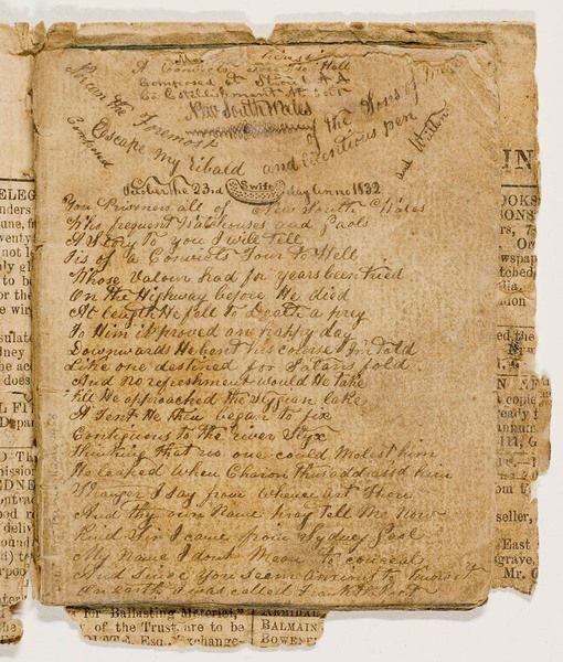 Francis MacNamara aka 'Frank the Poet', 'A convict's tour to Hell', poem written circa 1832-1839. Mitchell Library, State Library of New South Wales: http://acmssearch.sl.nsw.gov.au/search/itemDetailPaged.cgi?itemID=431049