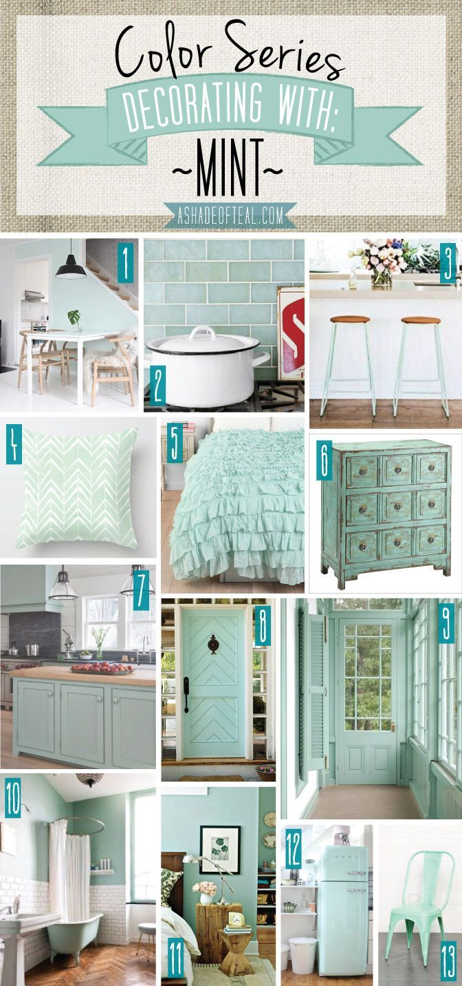 Color Series; Decorating with Mint. Mint home decor | A Shade Of Teal