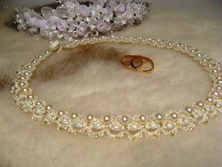 Бисеринка: Свадебное ожерелье из бисера