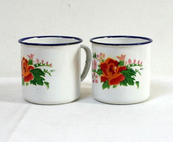 Mugs fleuris roses tôle émaillée lamerelipopette.com