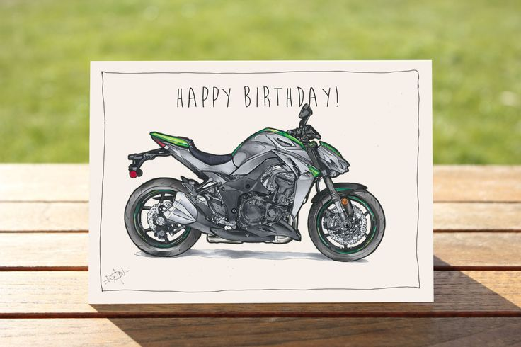"Motorcycle Birthday Card Kawaski Z1000 | A6 - 6"" x 4"" / 103mm x 147mm 