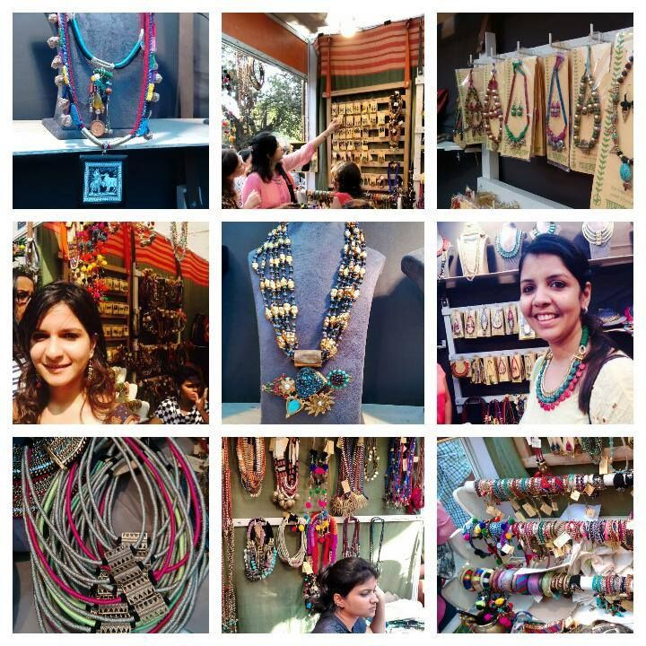From #vintage to #modern , and everywhere in between, we had #bracelets , #earrings , #necklaces , #bags , and #shoes showcased at our #stall at the #KalaGhodaArtsFestival ! Here's a #fun #collage of our stall, and the #happy #shoppers who visited!