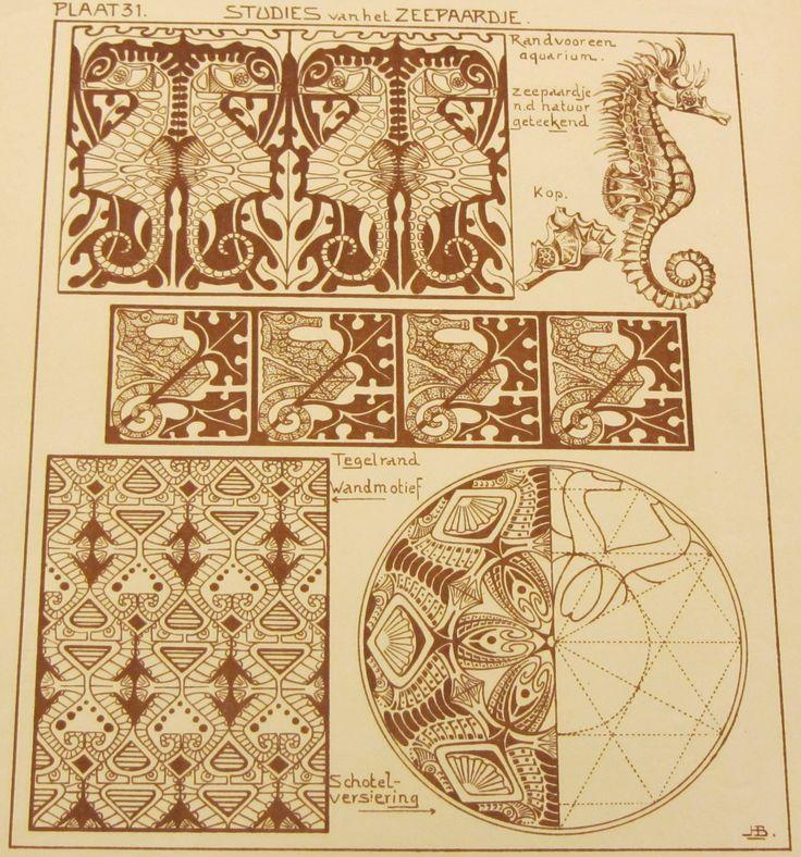 Plaat 31, studies van het zeepaardje. In: Het styleeren en toepassen van natuurvormen in vlakornament / J.H. Boot. - Amsterdam : Ahrend, [192?]. #ArtNouveau Available in library TextielMuseum #seahorse