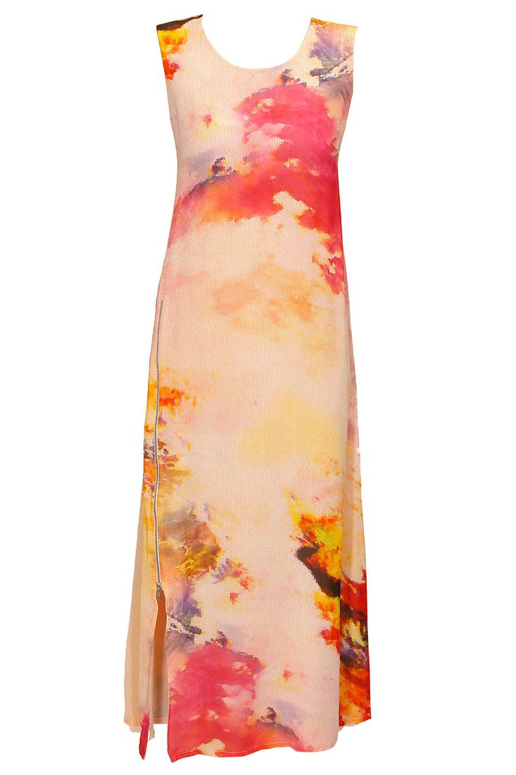 Pink and yellow abstract printed tunic by Varun Bahl. Shop now: http://www.perniaspopupshop.com/designers/varun-bahl #tunic #varunbahl #shopnow #perniaspopupshop