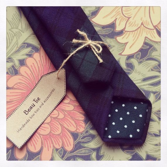 Mens skinny tie handmade using navy blue/forest green tartan wool #tartan #plaid #menswear #etsy by Beau Tie