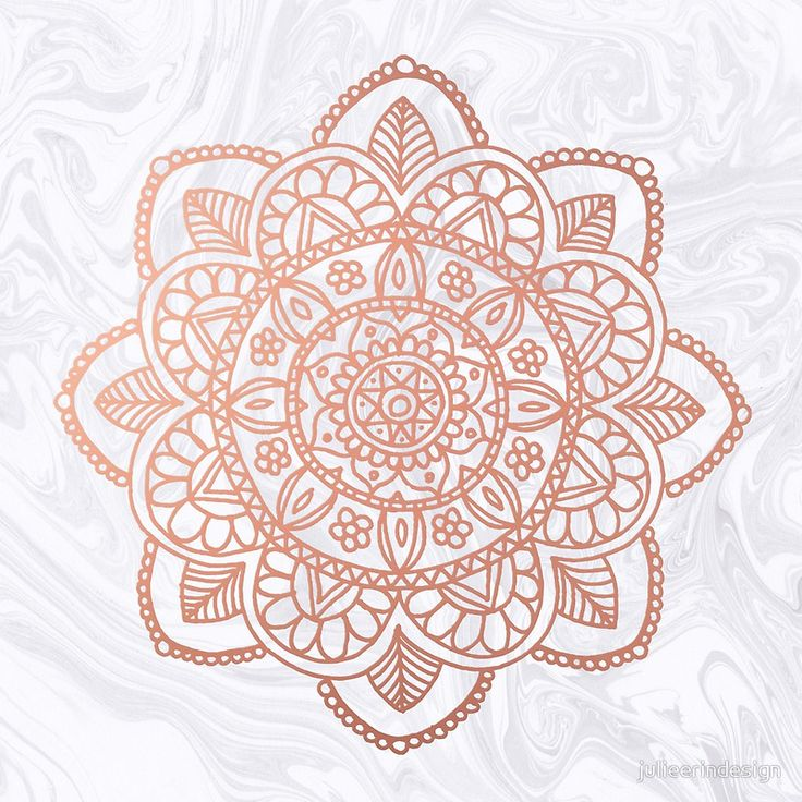 Rose Gold Mandala On White Marble Photographic Print By