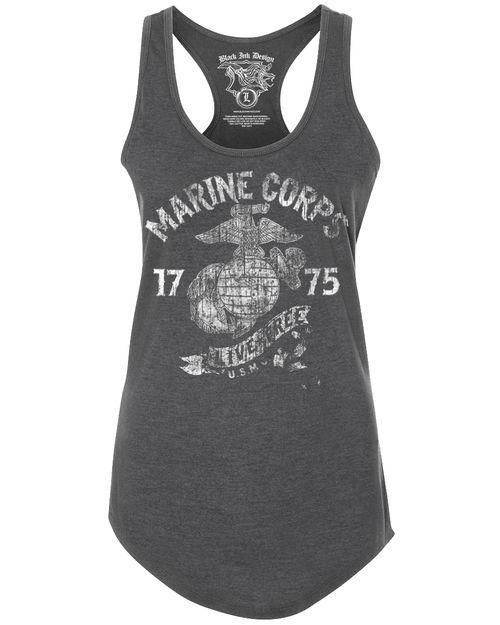 Lady's Racerback T-Shirt - Marine Corps Live Free Retro Women's USMC