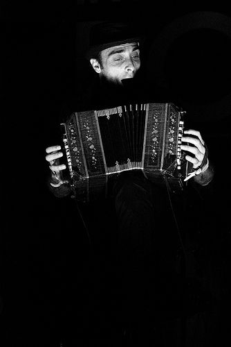 Front man of Bajofondo on his awesome accordion taken at Gaucho Polo, O2 Arena, 21 March 2012