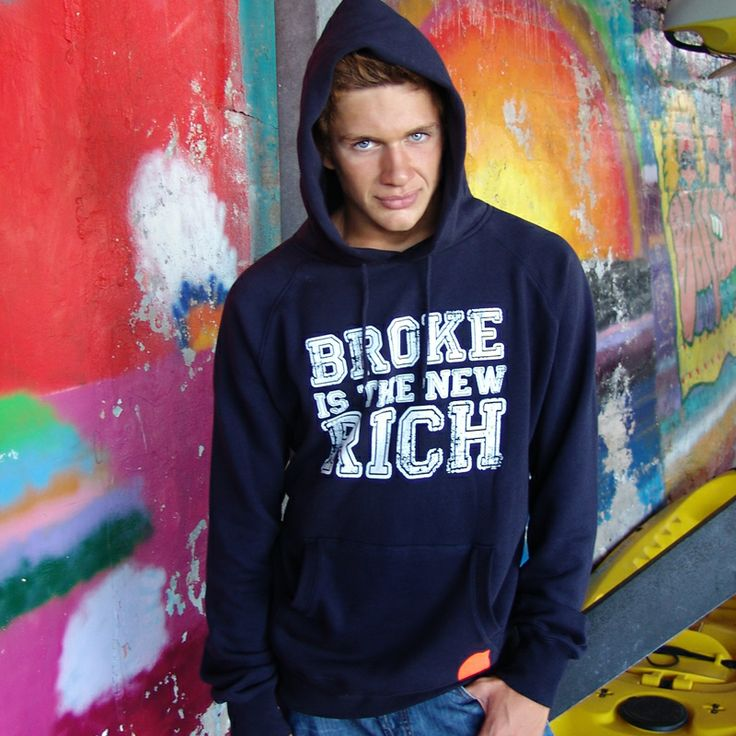 BROKE IS THE NEW RICH think different and be cool  men's pullover hooded sweatshirt  #storymood #hoodie 80% Combed Cotton 20% Polyester 320g / 9.6oz.