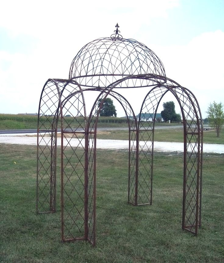 4 Arches Wrought Iron Gazebo Metal Trellis Structure from arusticgarde..com