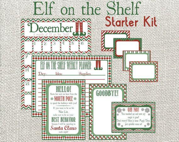 Elf on the shelf starter kit monthly calendar weekly planner welcome letter adoption for Elf on the shelf adoption