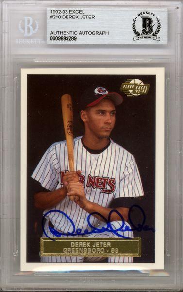 Derek Jeter Hand Signed Autographed 1992 Fleer Excel Rookie Card #210 New York Yankees - Beckett COA