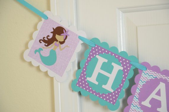 Mermaid Happy 1st Birthday Banner, Girl Banner, Chevron Banner, Chevron Party, Chevron Banner, White, Purple and Teal Banner