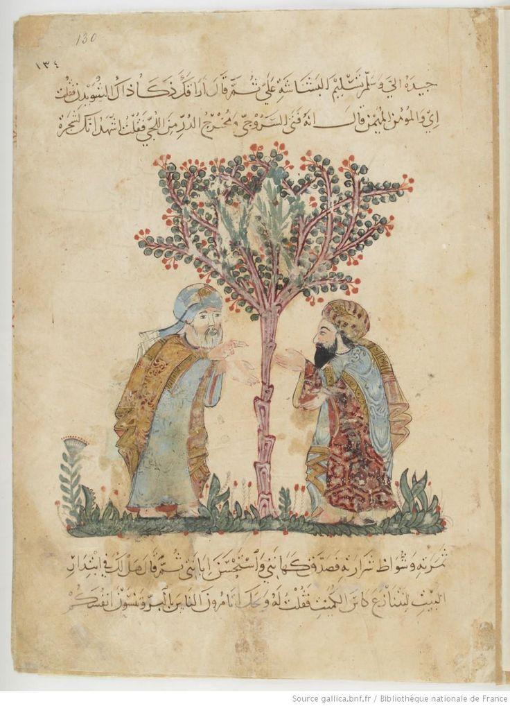 Folio 130 Recto: maqama 41. Abu Zayd recognized by al-Harith
