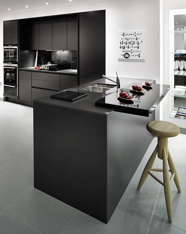 Stylish, modern contemporary kitchen. SieMatic S3 Kitchen in Graphite Grey, Siemens kitchen appliances, Quartz worktops, Quooker Tap. Grid Thirteen Showroom, 37 Street Lane, Leeds.