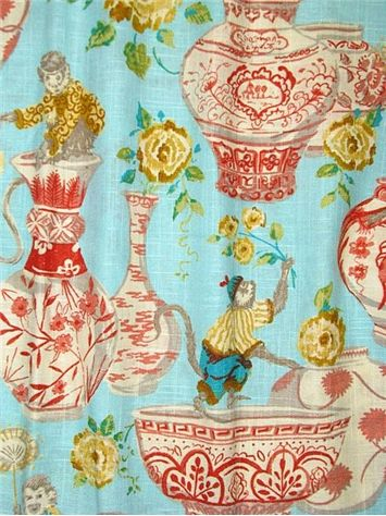 """Monkey Jars Sundance -  Dena Home Fabric, beautiful print from Fresh Canvas Collection, drapery fabric, light use upholstery fabric, pillow fabric, headboard fabric. 55% linen, 45% rayon. Repeat; V 27"""" - H13.5"""". 54"""" wide. 15,000 double rubs. Permission has been granted by DENA HOME to display copyrighted designs. Product Designs © DENA HOME. All rights reserved."""