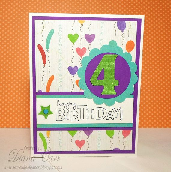 Happy 4th Birthday Card - 4 Year Old Birthday Card - Stamped Cards for Kids, Kids Birthday Cards, 4 Birthday Card