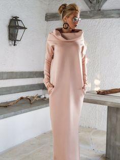 Tauchen Neopren Maxi Kleid Kaftan mit Taschen / von SynthiaCouture