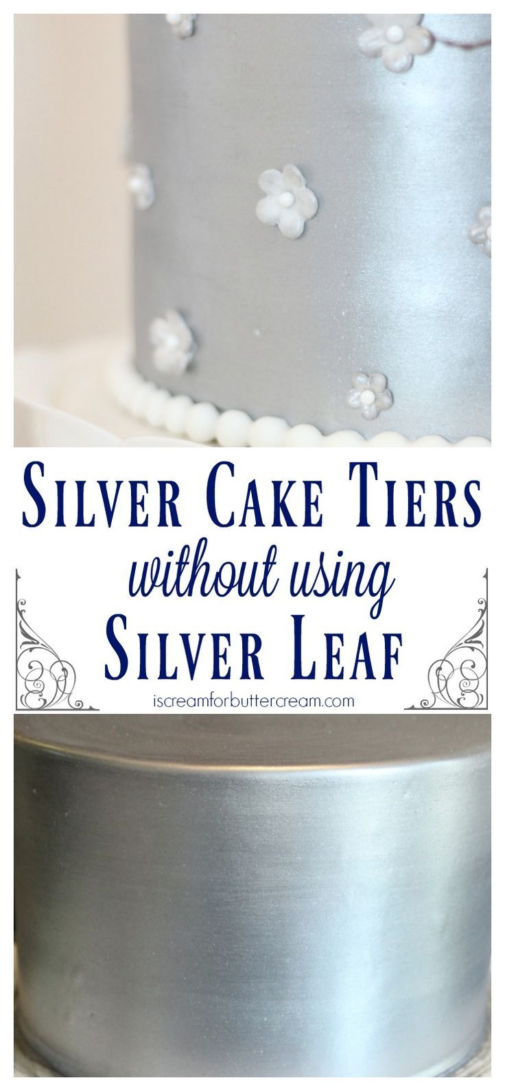 Make shiny silver cake tiers without needing to use expensive silver leaf. The Elegant Rustic Silver Wedding Cake.