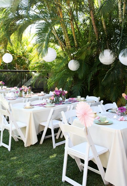Simple outdoor party -  baby shower, high tea, birthday party.