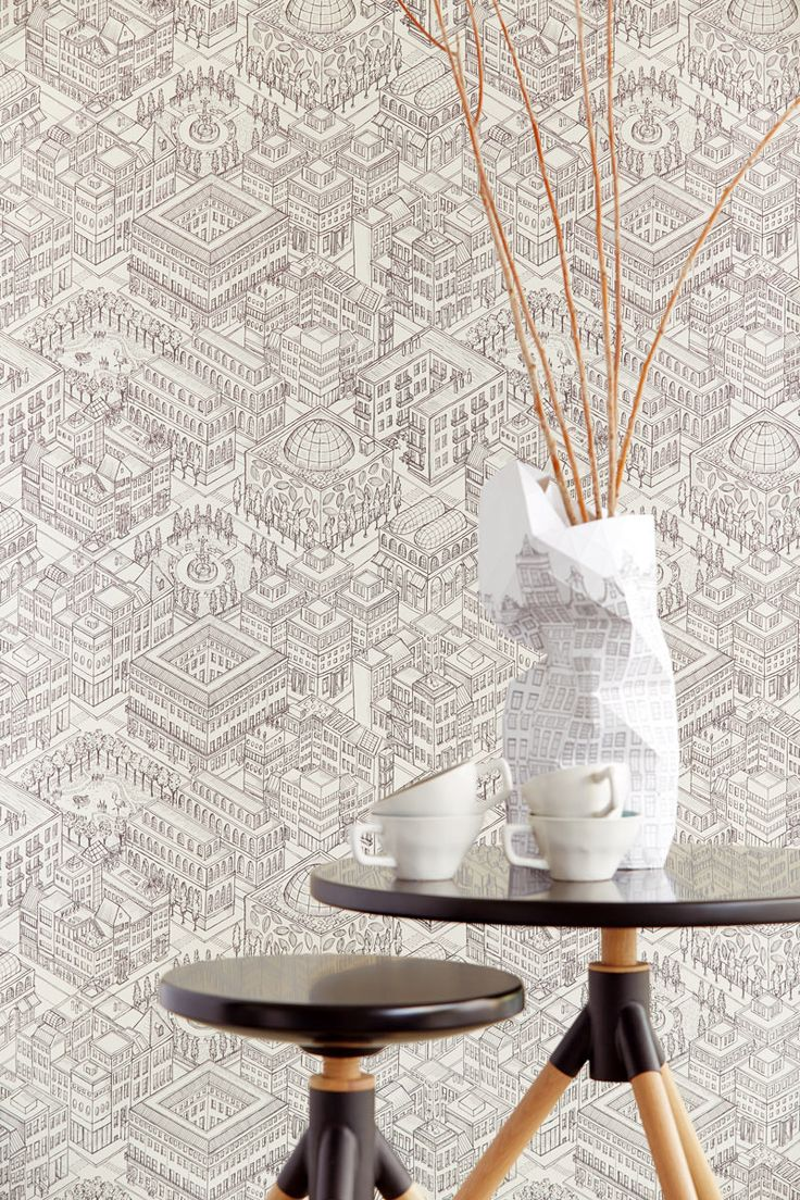 Your room as a city scape. Graphic walls with Script wallpaper by Eijffinger
