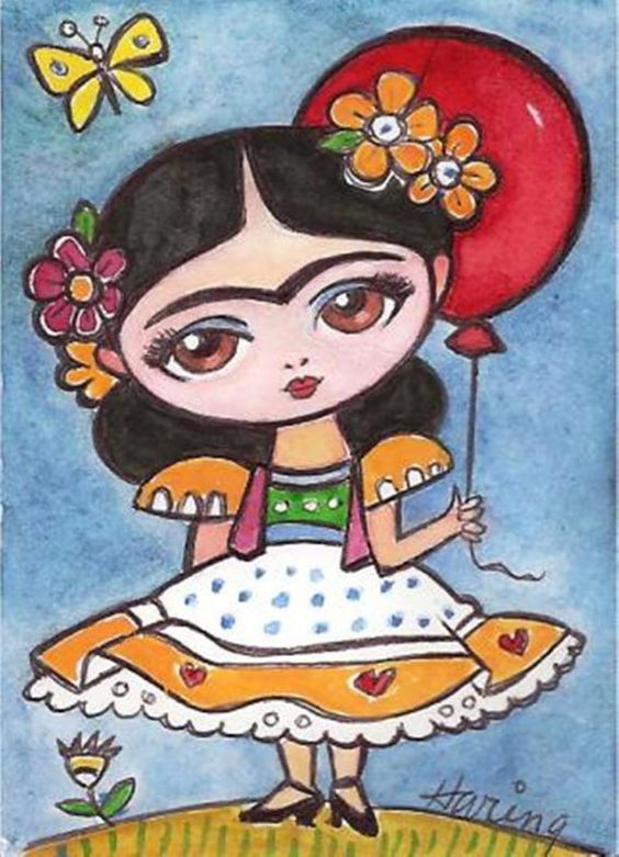 Frida Kahlo and Red Balloon - Original 5x7 Print from my Painting Girls room art  childrens art. 9.50, via Etsy.: