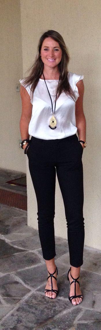Look de trabalho - look preto e branco - look black and white