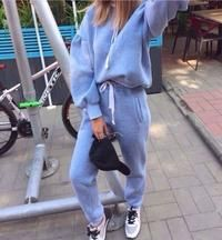 Tracksuit Women Long Sleeve Thicken Hooded Sweatshirts 2 Piece Set Casual 3