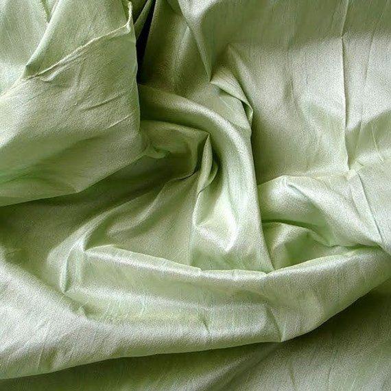 Pastel Green Art Silk Fabric By The Yard Silk Curt…