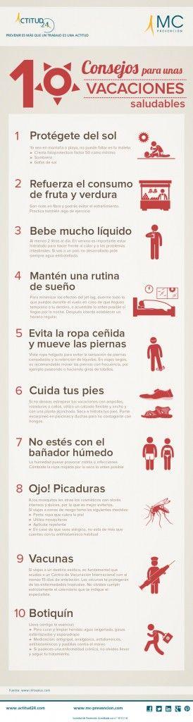 #Infografía: 10 consejos para tener unas vacaciones saludables. #VidaSaludable #Salud