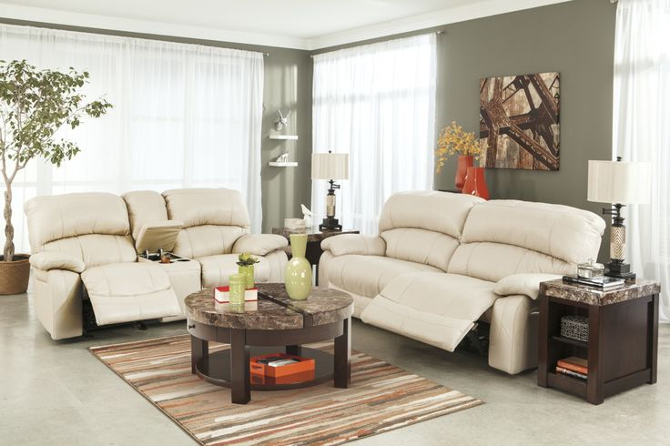 Fascinating Small Living Room Interior Ideas The Presenting Elegant Cream White Fabric Catnapper Recliners Sofa With Adjustable Seating And Exciting Drum Shade Fixture Stand Lamps On The Side Tables Plus Dark Brown Round Coffee Table Above Striped Rug, Fashionable Chic Reclining Leather Sofa Ideas A Durable: Furniture, Living Room