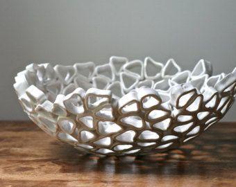 White fruit bowl minimal organic home decor by GolemDesigns