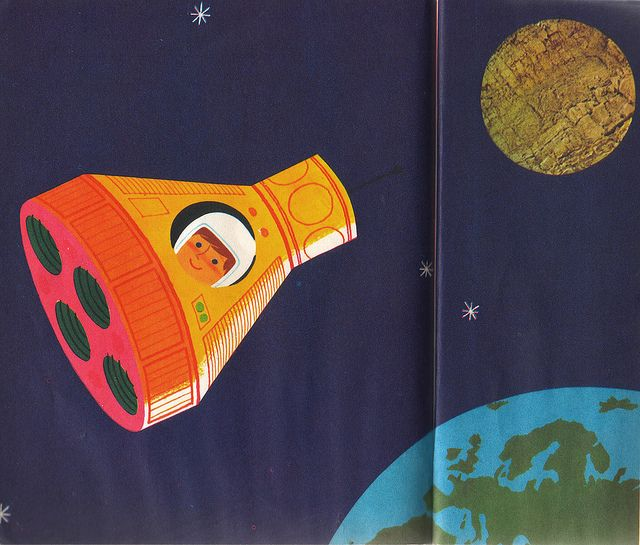 Off to Cork Moon    Un Fusee   Ma Raconte    Text and Illustration by Alain Gree (1971)  Les Album Rose