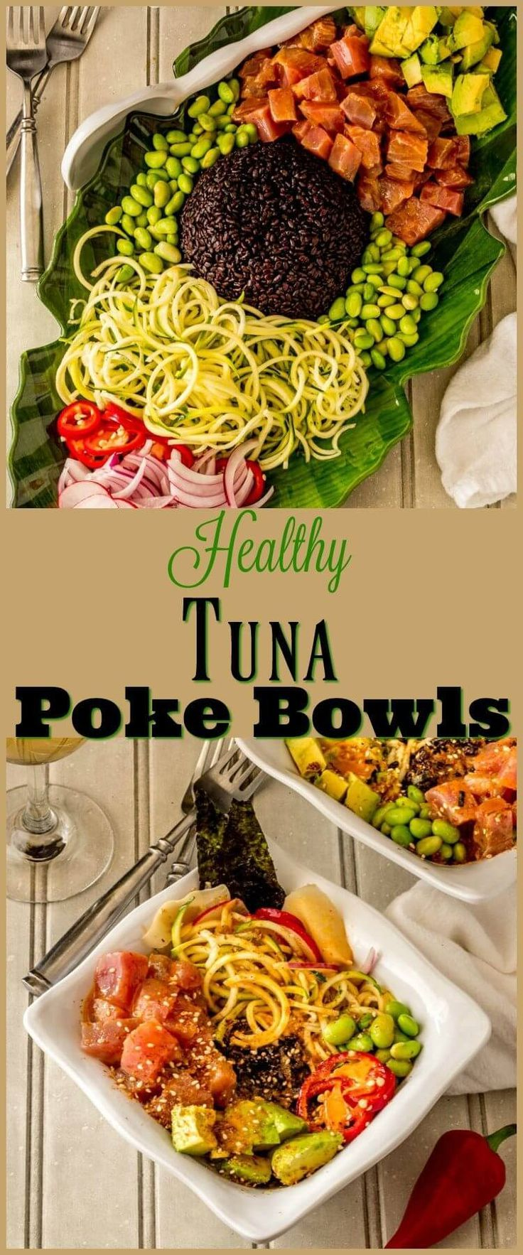 Healthy Tuna Poke Bowl - Chunks of succulent raw ahi tuna dressed up with a light sesame ginger vinaigrette star in my customizable Healthy Tuna Poke Bowl... This nutritious powerhouse dish is bursting with flavor, and so quick and easy to make! fresh tuna recipes | poke bowl recipe | main dish salads