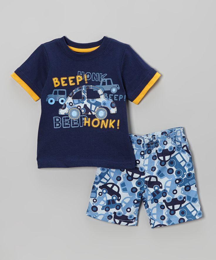 Blue 'Beep! Honk!' Tee & Cars Shorts - Infant & Toddler