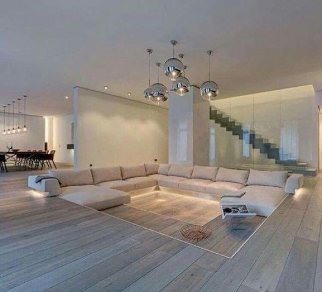 Minimalist Wooden Sunken Living Room With White Sofa Sunken Living Room Dream House Interior Modern Minimalist Living Room
