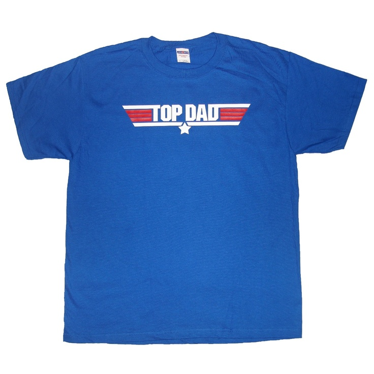 Top Dad New Father T-Shirt Father's Day Funny Birthday Gift Idea - royal blue / white and red - S, M, L and XL